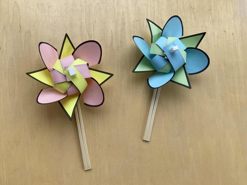 もりの工作コーナー「お花の風車」
